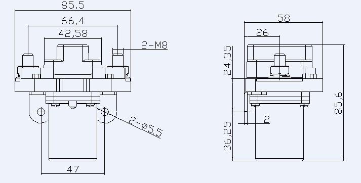 一、用途 QNZ-200A直流接触器用于直流额定工作电压至DC48V,工作电流至200A的直流的电路。产品主要用于变频器、通讯电源,电加热等场合。工作电压接通DC600V以上的电路中,适用于变频器主电路切换缓冲电阻之用。  二、型号及含义  三、结构特点 1、主电路为直流,控制回路为直流24V。 2、全防尘,防护等级达IP54。 3、动作机构为直动式,触头为双断点。 4、自然灭弧,飞弧距离为零。 5、体积小、重量轻、低耗能、高可靠性。 四、工作条件和安装条件 1、环境温度:-25 ~ +55 2、相对湿度